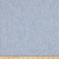 "Linen Blend 1/8"" Stripe Navy/White"