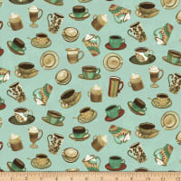 Clothworks Coffee Shop Toss Turquoise
