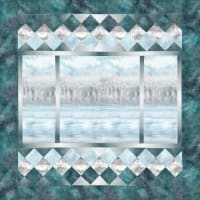 "Hoffman McKenna Ryan A View From Here 46"" x 47.5"" Quilt Kit Ice Blue"