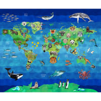 "Hoffman Digital Zookeeper Animal World Map 35.6"" Panel Earth"