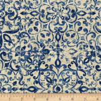 Timeless Treasures London Blues Floral Tile Pattern Blue