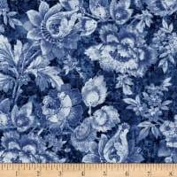 Timeless Treasures London Blues Packed Stamped Florals Blue