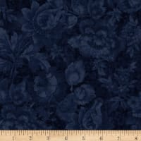Timeless Treasures London Blues Packed Stamped Florals Navy