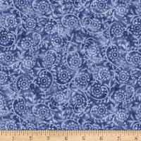 Timeless Treasures London Blues Stamped Pattern Blue