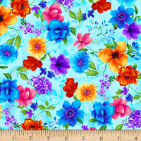 Timeless Treasures Night Bloom Small Floral Aqua