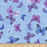 Timeless Treasures Pansy Paradise Butterflies On Etched Pansies Blue