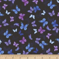 Timeless Treasures Pansy Paradise Printed Butterflies Black