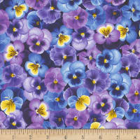 Timeless Treasures Pansy Paradise Packed Pansies Purple