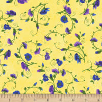 Timeless Treasures Pansy Paradise Pansies On Vines Yellow