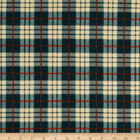 Fabric Merchants Liverpool Double Stretch Knit Plaid Hunter Green/Orange