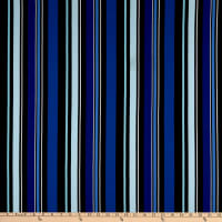Fabric Merchants Liverpool Double Knit Multi Stripe Black/Blue