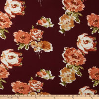 Fabric Merchants Liverpool Double Knit Watercolor Floral Burgundy/Rose