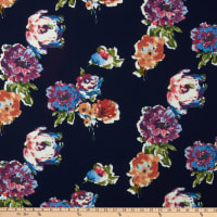 Fabric Merchants Liverpool Double Knit Watercolor Floral Navy/Lilac