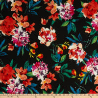 Fabric Merchants Liverpool Double Knit Abstract Floral Black/Coral