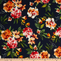 Fabric Merchants Liverpool Double Knit Abstract Floral Navy/Coral