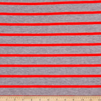Fabric Merchants French Terry Stripe Heather Grey/Pink