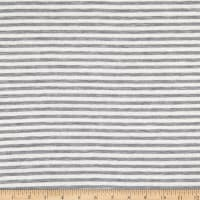 Fabric Merchants French Terry Multi Stripe Ivory/Heather Grey