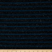 Fabric Merchants French Terry Stripe Black/Teal