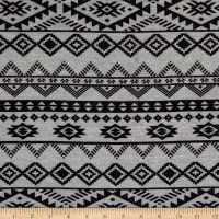 Fabric Merchants French Terry Geo Black/Heather Grey
