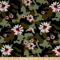 Fabric Merchants French Terry Camoflauge Floral Olive/Coral