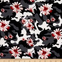 Fabric Merchants French Terry Camoflauge Floral Black/Coral