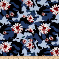 Fabric Merchants French Terry Camoflauge Floral Navy/Coral