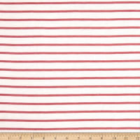 Fabric Merchants French Terry Horizontal Stripe Ivory/Dusty Rose