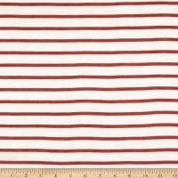Fabric Merchants French Terry Horizontal Stripe Ivory/Rust