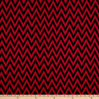 Fabric Merchants Ponte De Roma Knit Chevron Black/Red