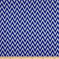 Fabric Merchants Ponte De Roma Knit Chevron Ivory/Royal