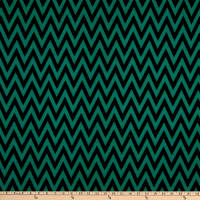 Fabric Merchants Ponte De Roma Knit Chevron Black/Jade