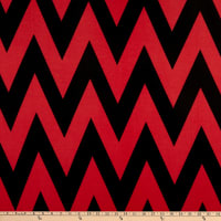 Fabric Merchants Ponte De Roma Knit Large Chevron Black/Red