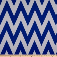 Fabric Merchants Ponte De Roma Knit Large Chevron Ivory/Royal