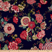 Fabric Merchants Ponte De Roma Knit Floral Navy/Coral