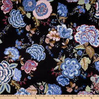 Fabric Merchants Ponte De Roma Knit Floral Black/Rose