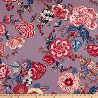 Fabric Merchants Ponte De Roma Knit Floral Grey/Mauve