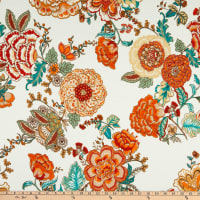 Fabric Merchants Ponte De Roma Knit Floral Green/Coral