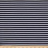 Fabric Merchants Ponte De Roma Knit Pin Stripe Navy/White