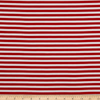 Fabric Merchants Ponte De Roma Knit Pin Stripe Red/White