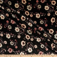 Fabric Merchants Stretch Velvet Floral Black/Mauve