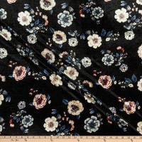 Fabric Merchants Stretch Velvet Floral Black/Taupe