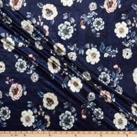 Fabric Merchants Stretch Velvet Floral Navy/Taupe