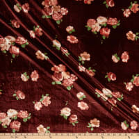 Fabric Merchants Stretch Velvet Floral Bouquet Mauve/Marsala