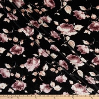 Fabric Merchants Stretch Velvet Watercolor Floral Black/Mauve