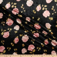 Fabric Merchants Stretch Velvet Rose Bouquet Black/Mauve