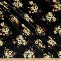 Fabric Merchants Stretch Velvet Mini Floral Bouquet Black/Taupe