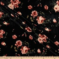 Fabric Merchants Stretch Velvet Roses Black/Mauve