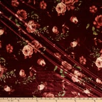 Fabric Merchants Stretch Velvet Roses Burgundy/Rust