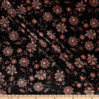 Fabric Merchants Stretch Velvet Bohemian Floral Black/Coral