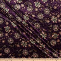 Fabric Merchants Stretch Velvet Bohemian Floral Plum